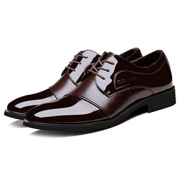 Patent Leather Panel Crocodile Pattern Formal Shoes - BROWN 43
