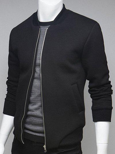 Rib Insert Side Pocket Zip Up Jacket - BLACK 2XL
