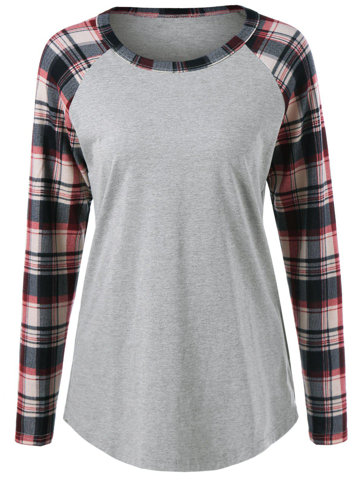 Plaid Trim Raglan Sleeve Tee