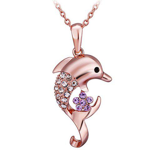 Rhinestone Dolphin Shaped Pendant Necklace - ROSE GOLD