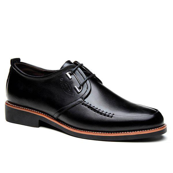 Stitching PU Leather Formal Shoes - BLACK 40