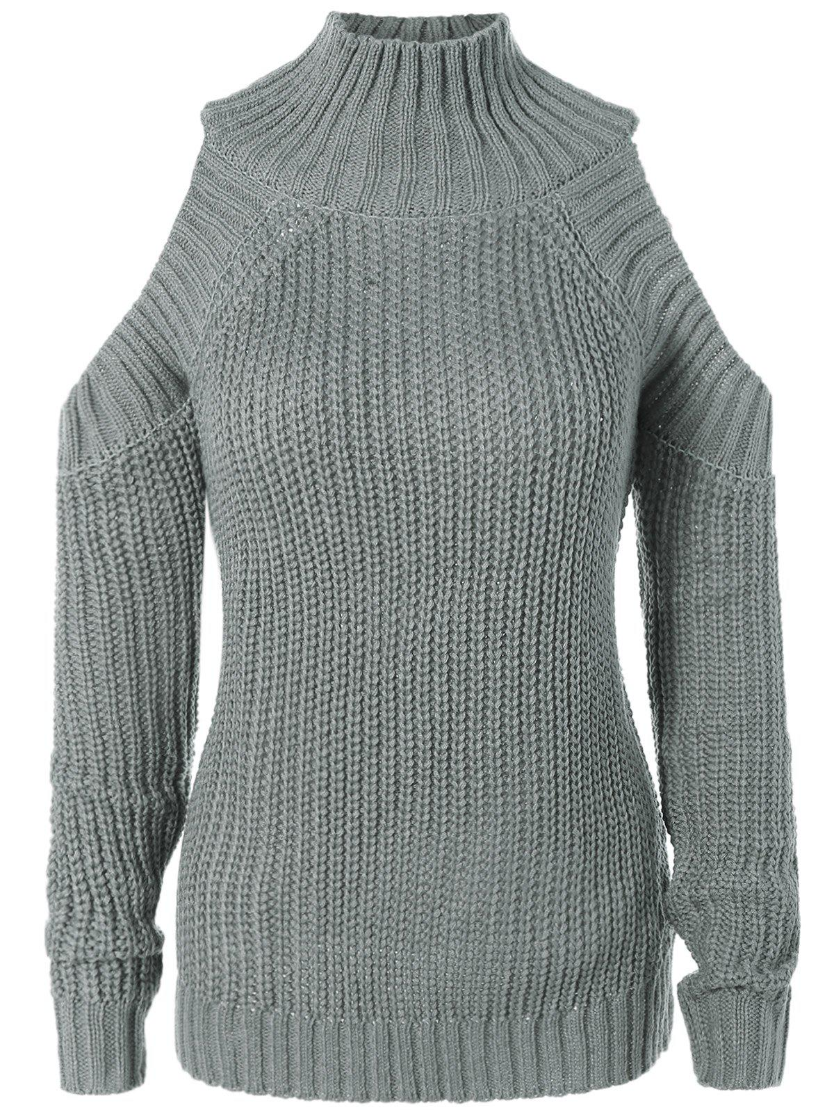 Cut Out Chunky Sweater - GRAY ONE SIZE