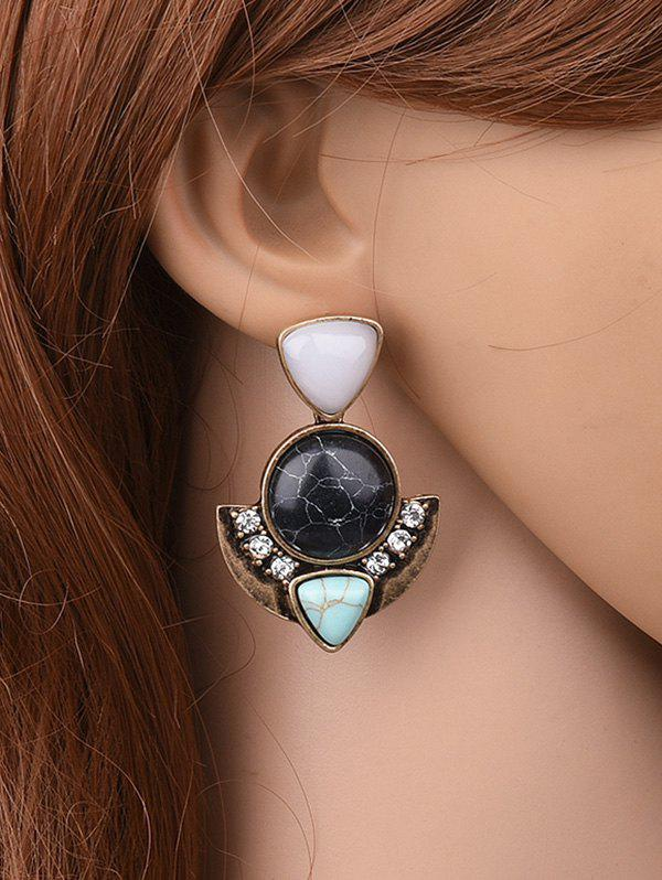 Faux Turquoise Geometric EarringsJewelry<br><br><br>Color: BLACK