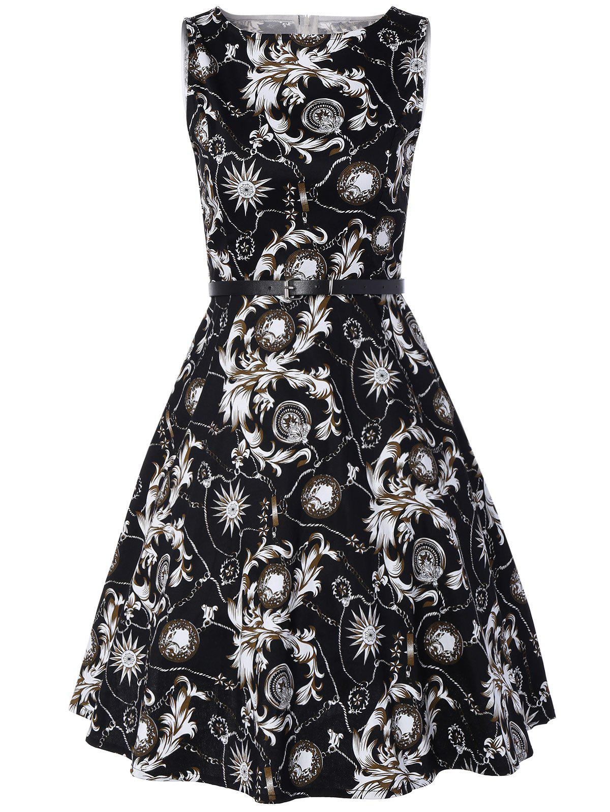 Vintage Swing Sleeveless Printed Dress - WHITE/BLACK L