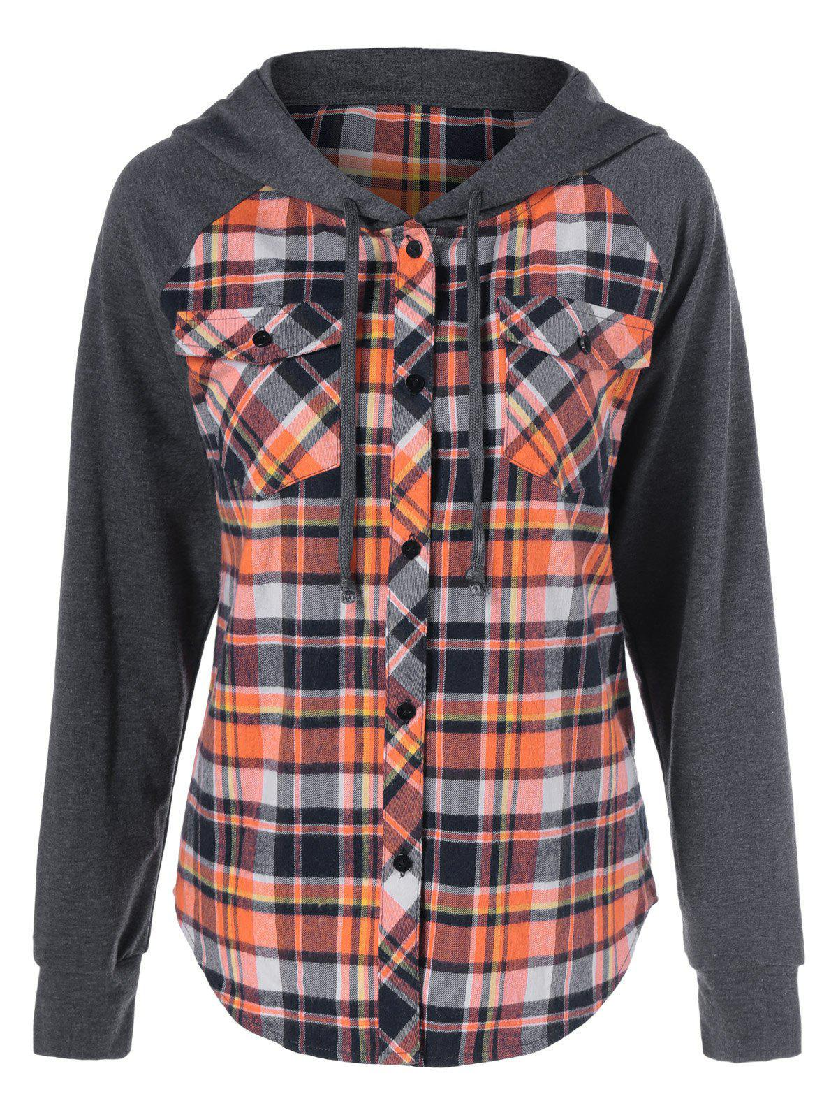 Button Up Flap Pockets Plaid Hoodie - CHECKED L