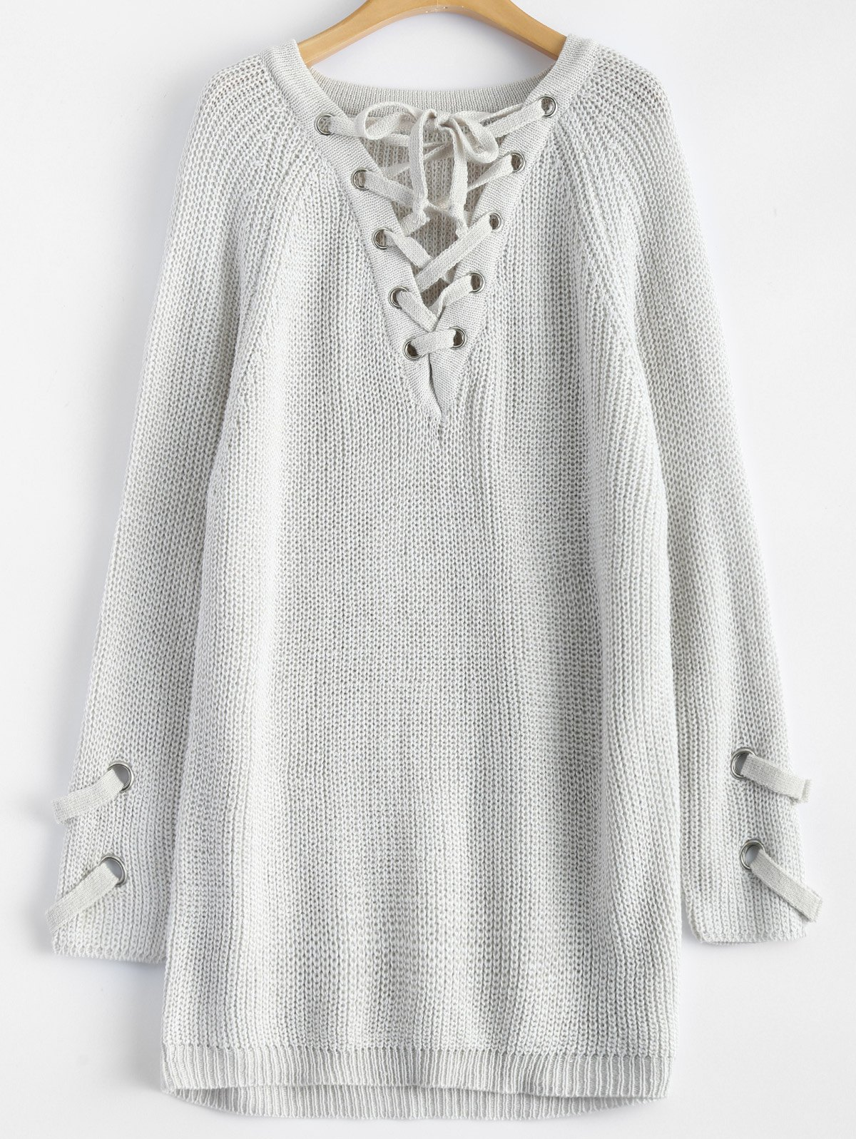 Chunky Lace-Up Longline Sweater - LIGHT GREY ONE SIZE