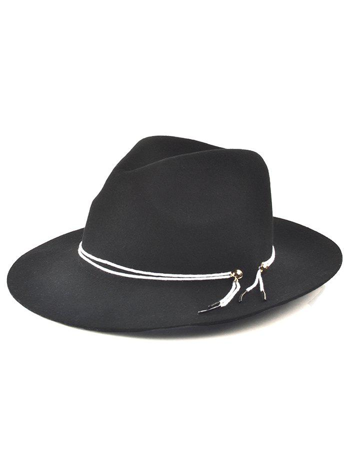 England Larger Brim Drawstring Fedora Jazz Hat - BLACK