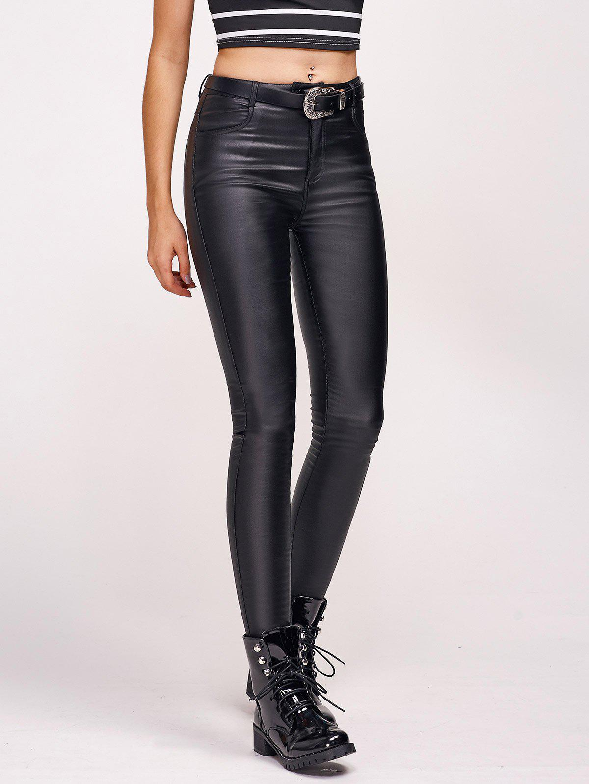 Faux Leather Flocking Stretchy Pants - BLACK M
