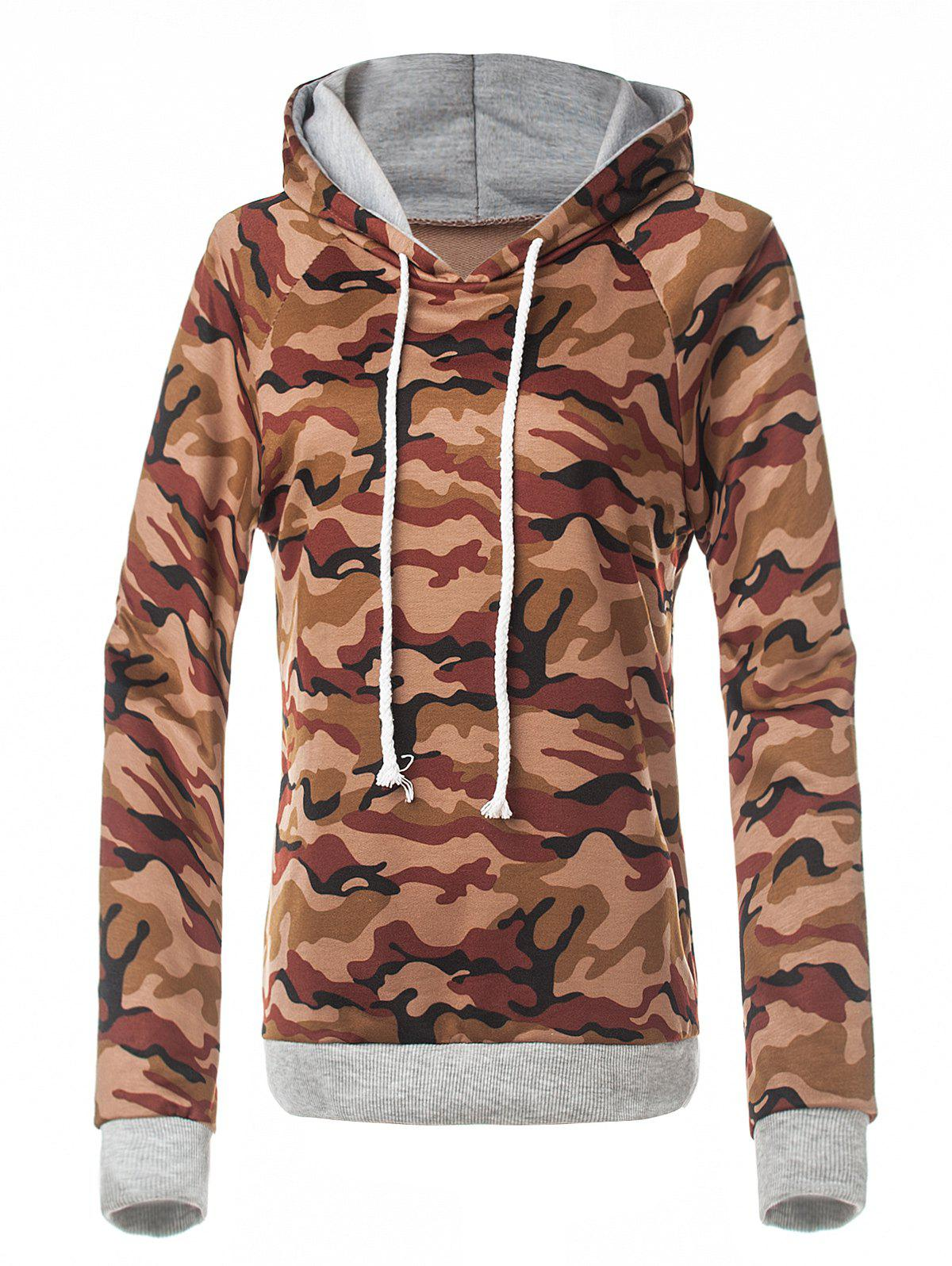 Fitted Camo Printing Hoodie, Red brown