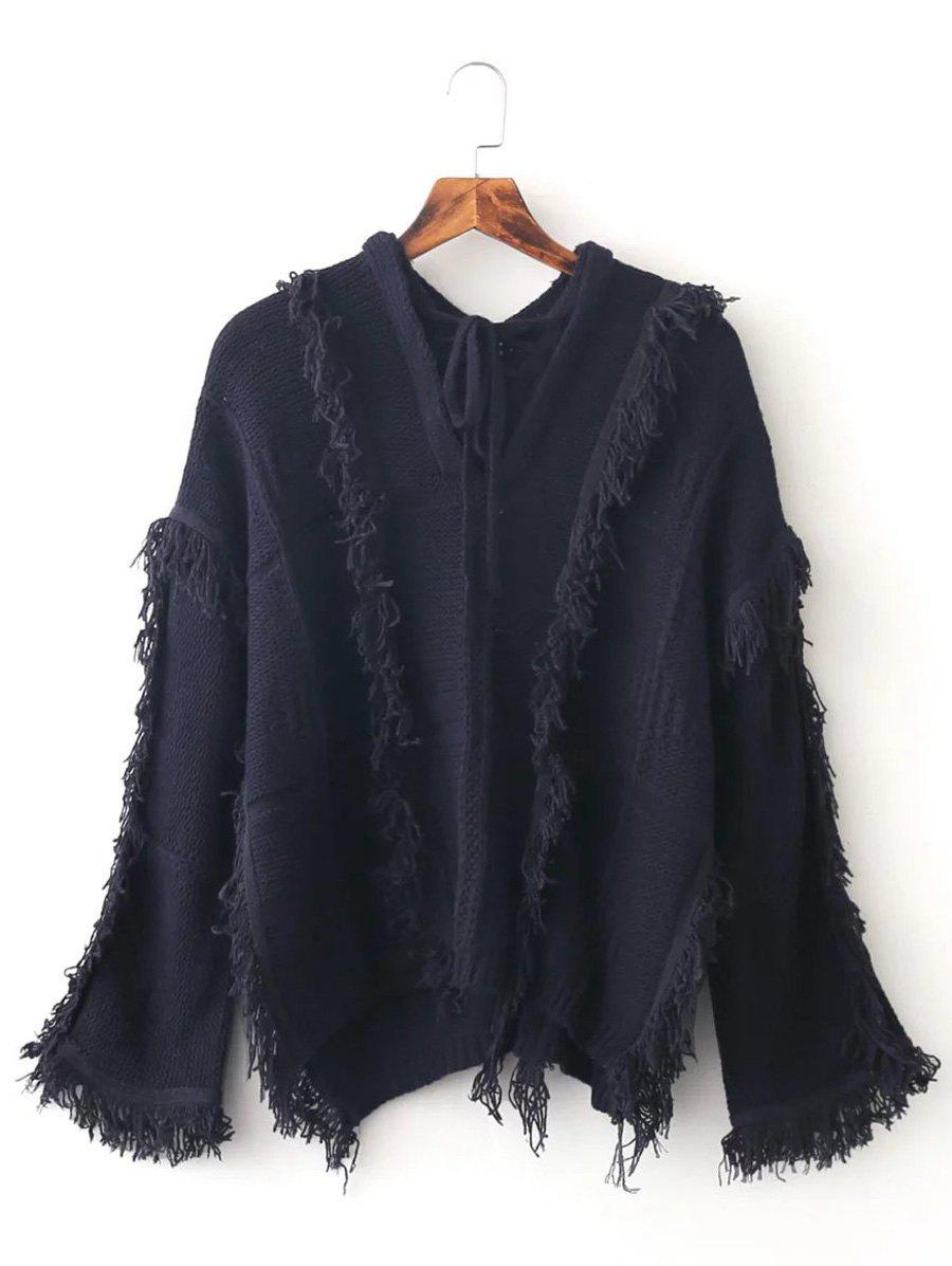 Batwing Sleeve Tassles Pullover Sweater - PURPLISH BLUE ONE SIZE