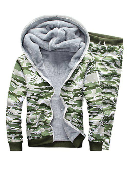 Flocking Zip Up Hoodie and Camo Pants TwinsetMen<br><br><br>Size: 3XL<br>Color: GREEN