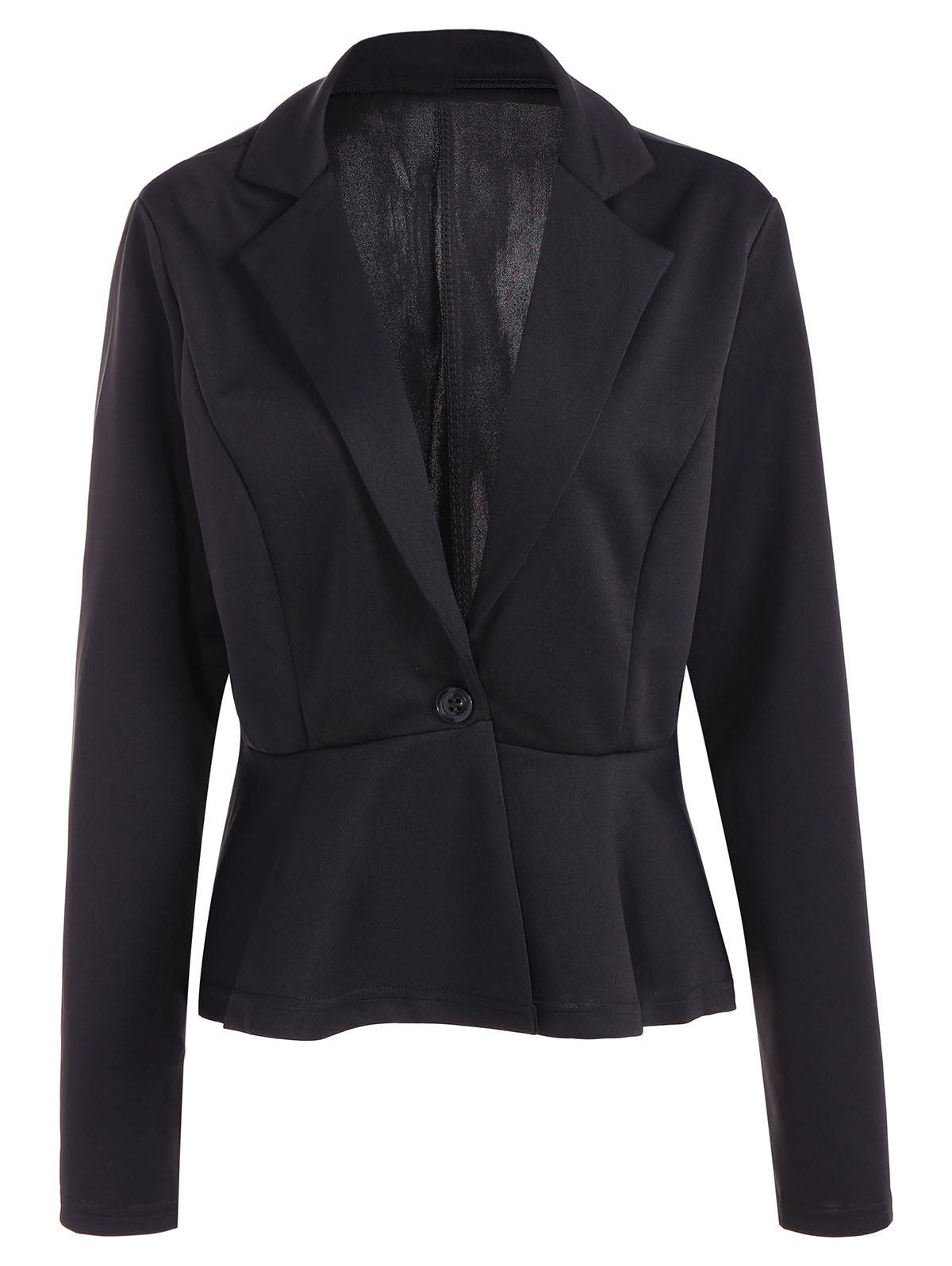 Fitted One Button Jacket Peplum Blazer - BLACK L