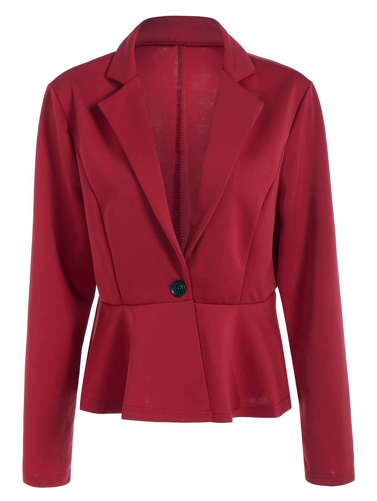 Fitted One Button BlazerWomen<br><br><br>Size: L<br>Color: RED