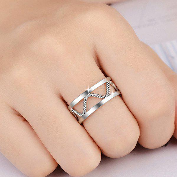 Twist Alloy Hollow Cuff RingJewelry<br><br><br>Color: SILVER WHITE