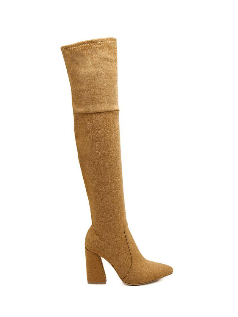 Suede Chunky Heel Pointed Toe Thigh BootsShoes<br><br><br>Size: 37<br>Color: BROWN