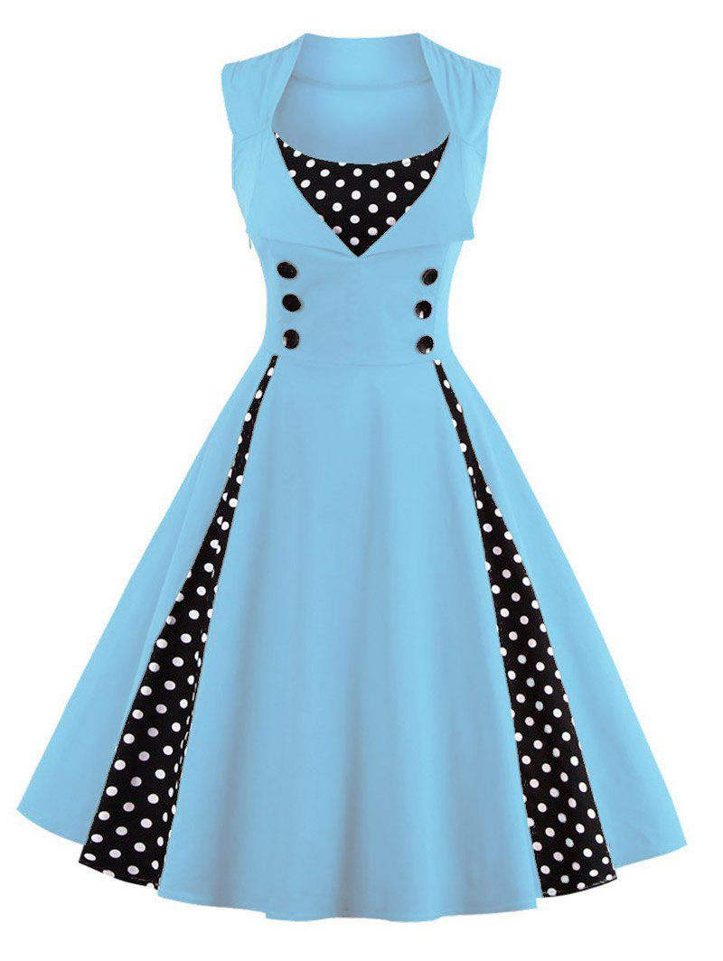 Midi Polka Dot Prom Rockabilly Swing Vintage Prom Dresses - LIGHT BLUE S