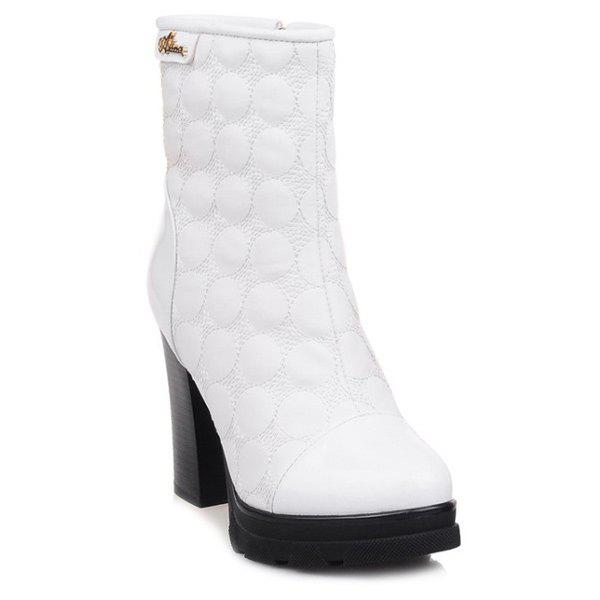Dots Patent Leather Spiced Chunky Heel Boots - WHITE 37