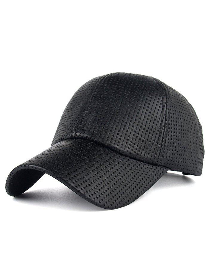 Breathable PU Leather Small Holes Design Baseball Hat - BLACK