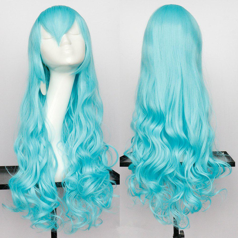 Long Wavy Oblique Bang Synthetic Cosplay Wig - CYAN