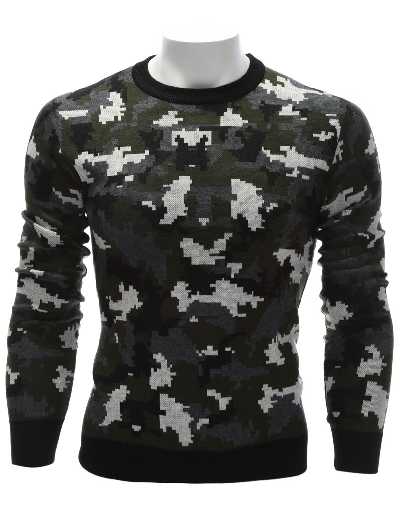 Camouflage Crew Neck Sweater - COLORMIX XL