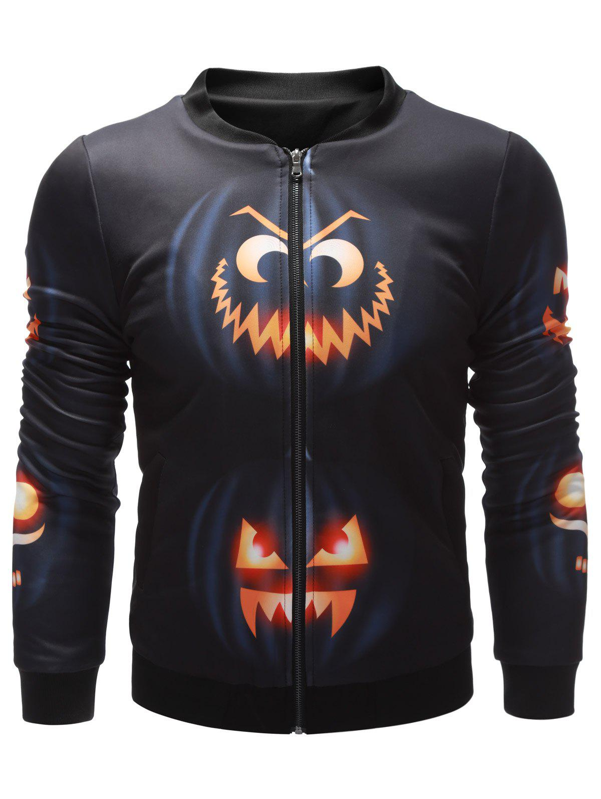 Stand Collar Wicked Pumpkin Printed Halloween Jacket - BLACK XL