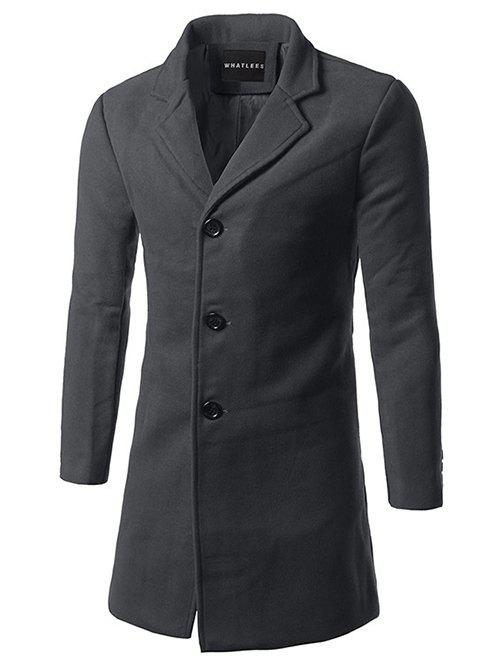 Lapel Single Breasted Slim Fit Wool Mix Coat - DEEP GRAY XL