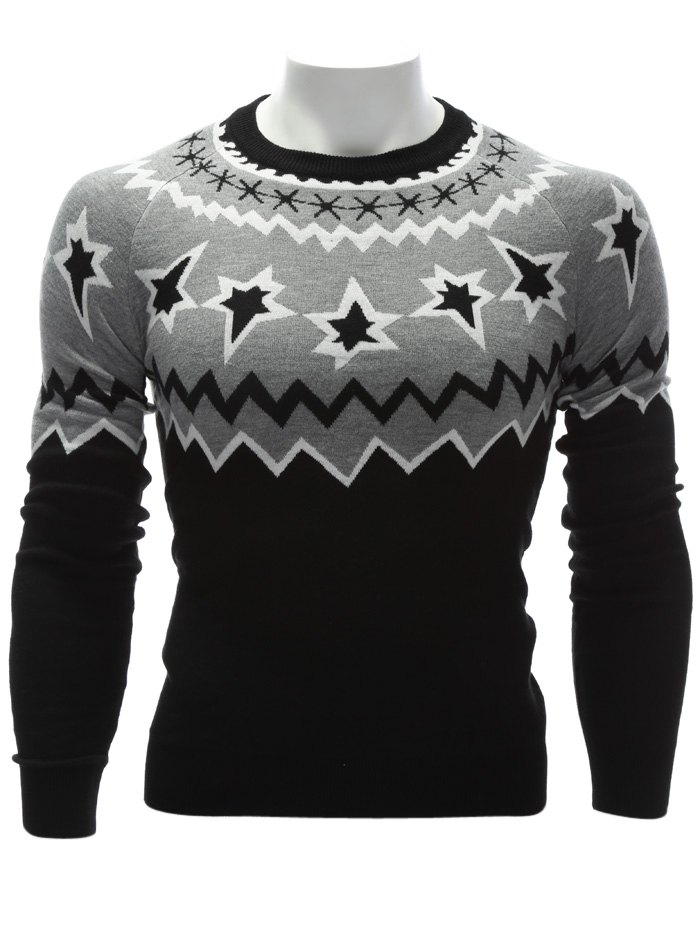 Color Block Waviness Graphic Crew Neck Sweater - BLACK/GREY 3XL