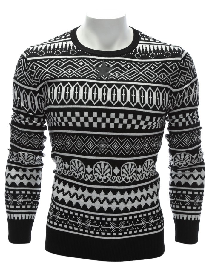Ethnic Style Geometric Graphic Crew Neck Sweater - WHITE 2XL