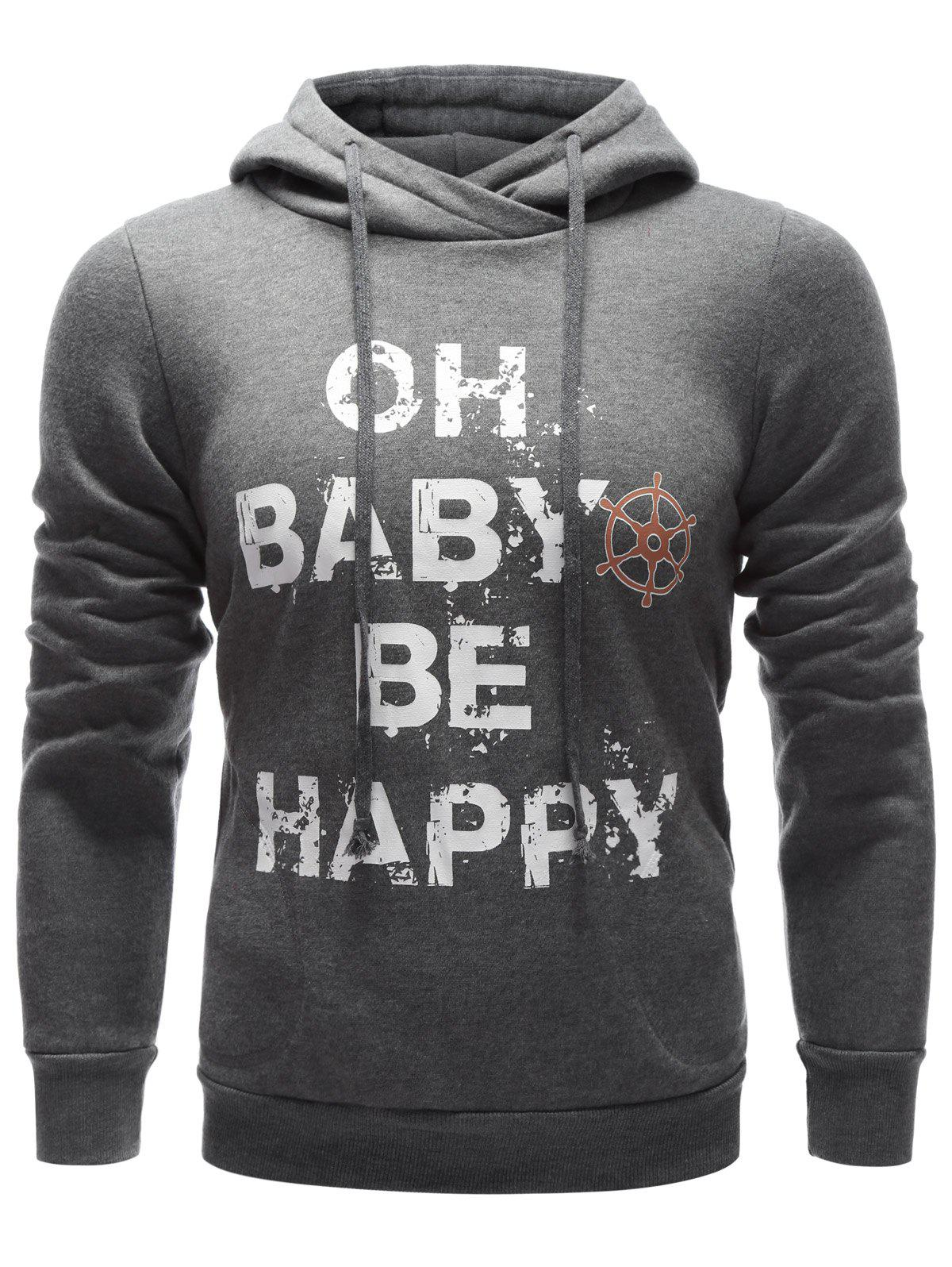 Letter Printed Drawstring Pullover Hoodie - GRAY S