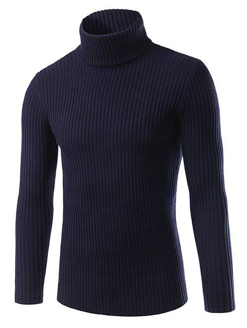 Slim Fit Roll Neck Ribbed Knitted Pullover Sweater hollow out ribbed knitted pullover