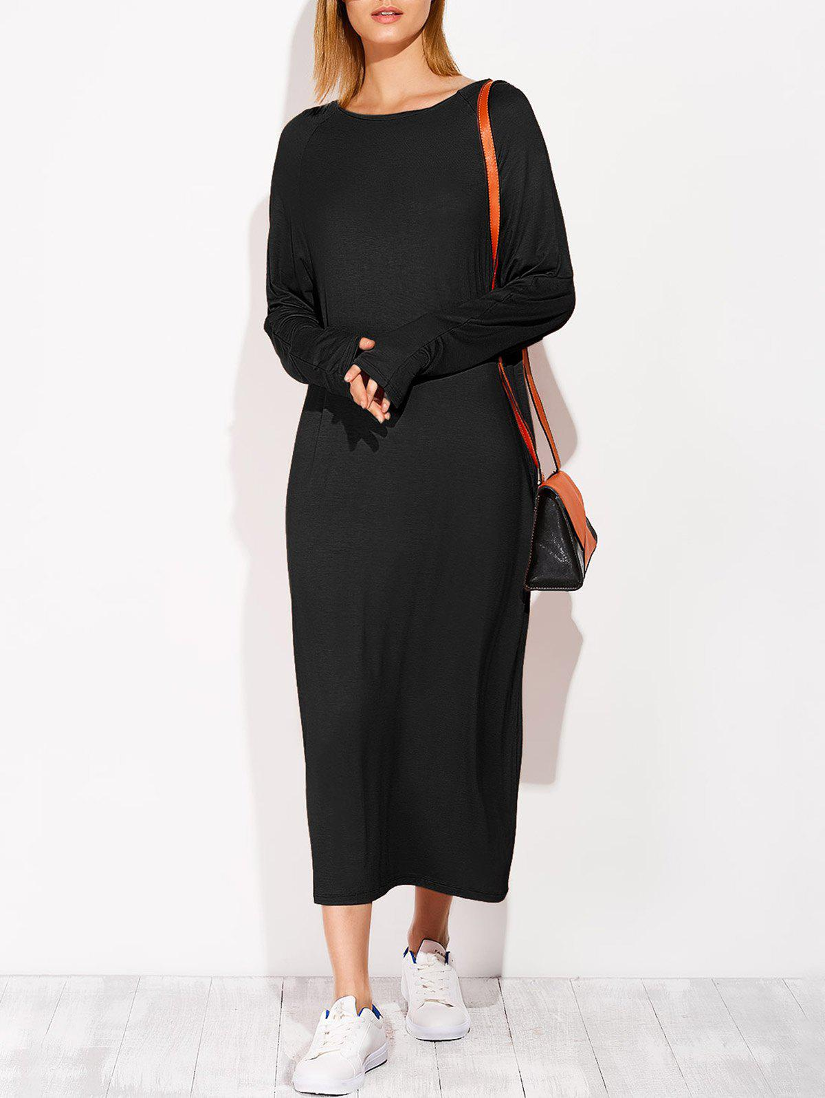 Midi robe casual à manches longues - Noir ONE SIZE