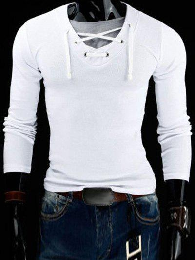 Slimming V-Neck Stylish Drawstring Faux Twinset Long Sleeve Polyester Men's T-Shirt - WHITE 2XL