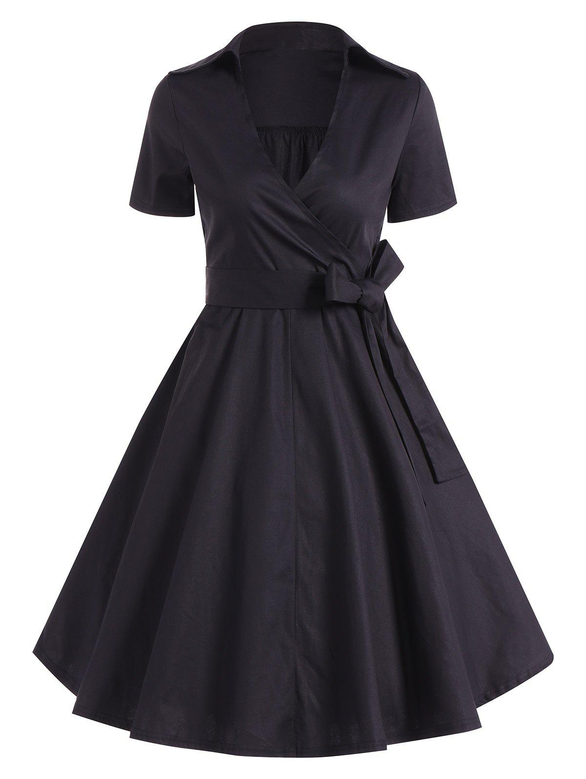 Retro Hepburn Style Bowknot Belted Swing Wrap Dress - BLACK L