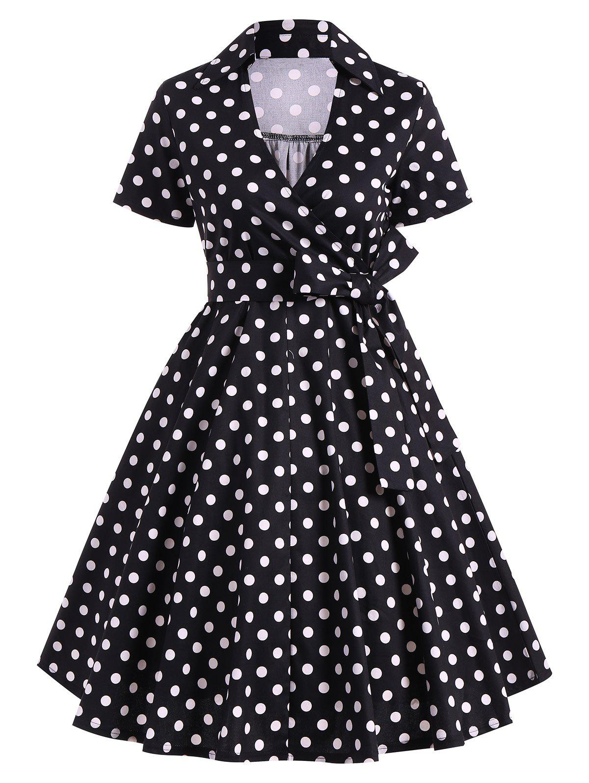 Retro Hepburn Style Polka Dot Bowknot Belted Swing Wrap Dress - BLACK M