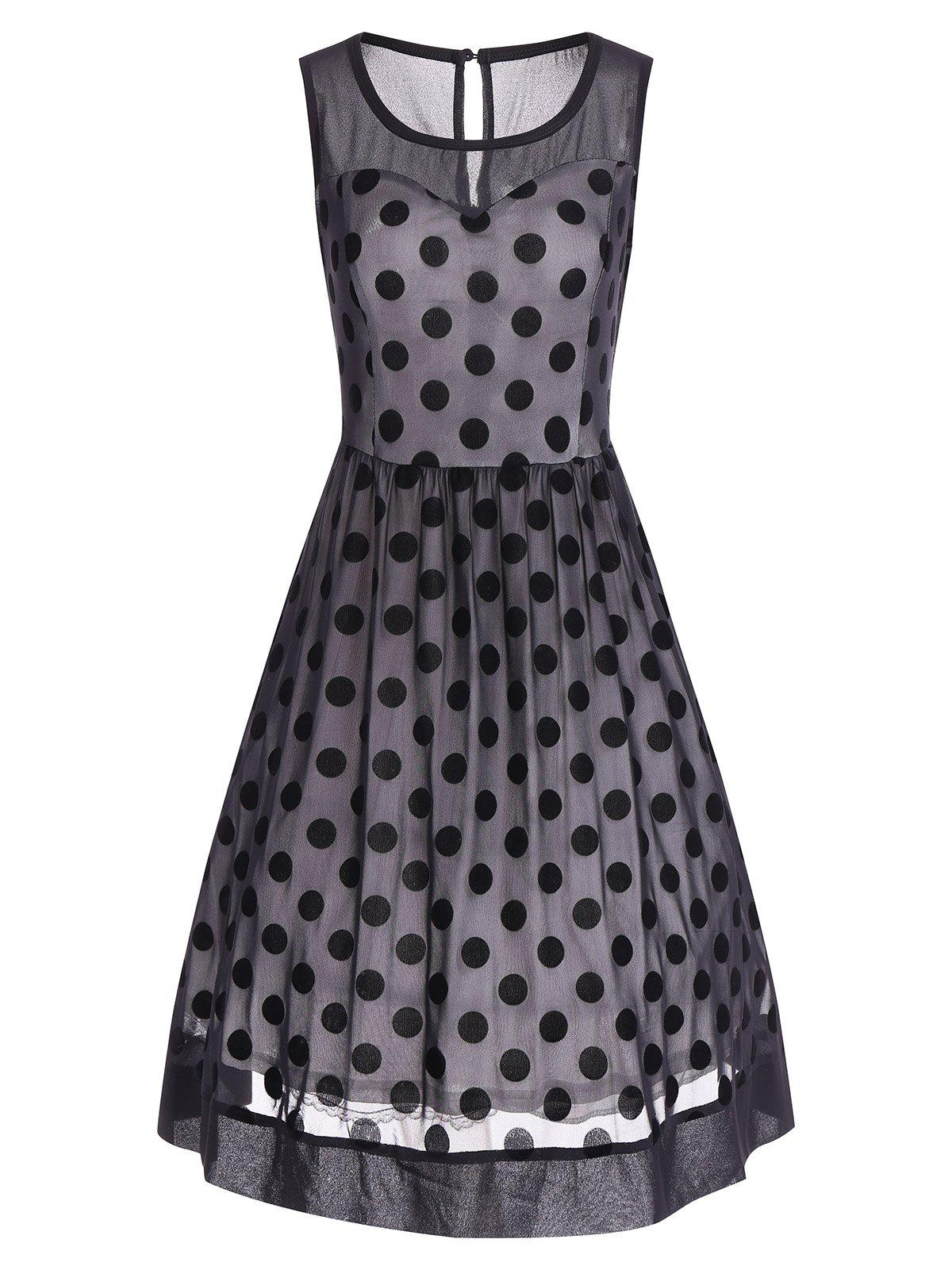 Summer Retro Polka Dot Mesh Yarn Insert Dress - BLACK S