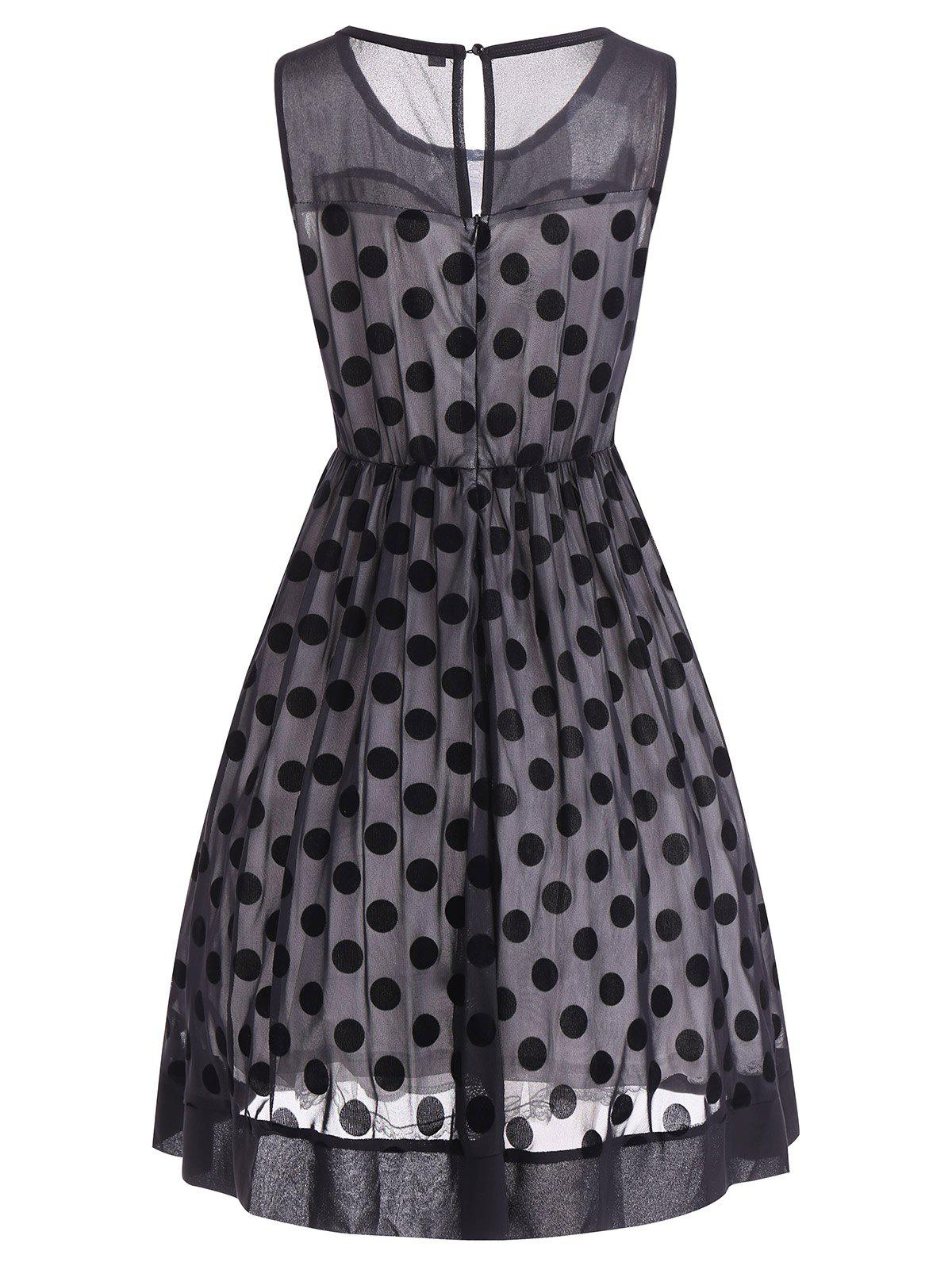 Summer Retro Polka Dot Mesh Yarn Insert Dress - BLACK L