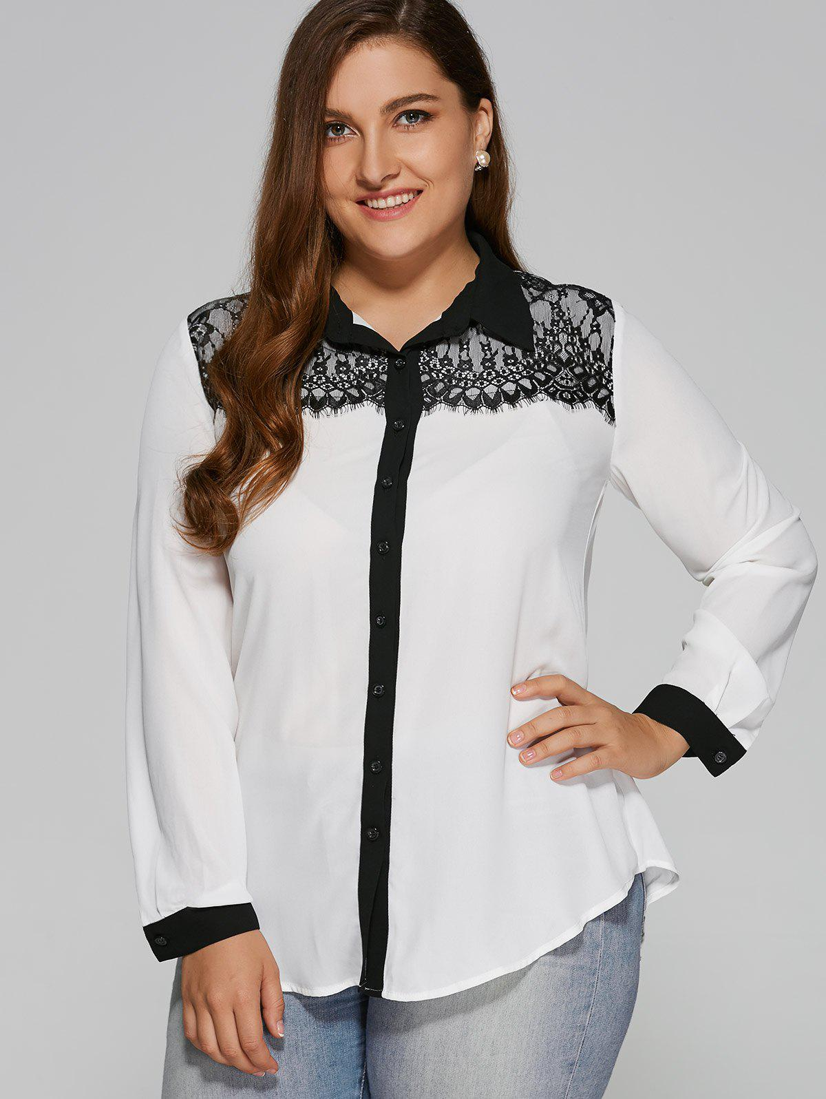 Plus Size Lace Patchwork Contrast Trim Shirt plus contrast binding ruffle trim blouse