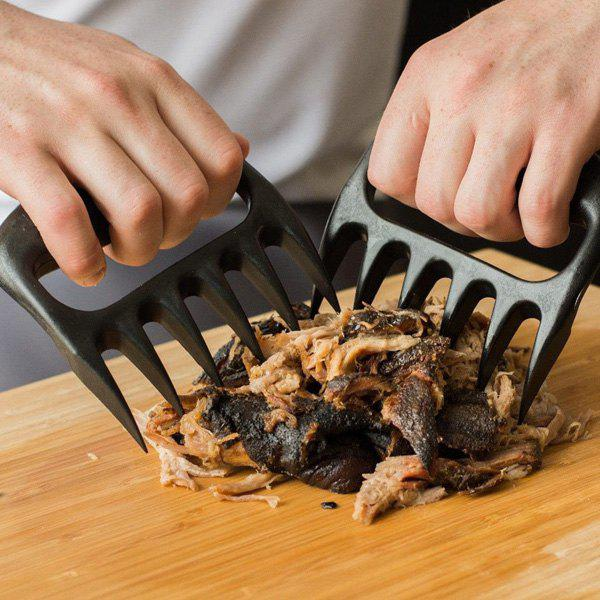 2PCS Pork Meat Handle Bear Claw Barbecue Forks - BLACK