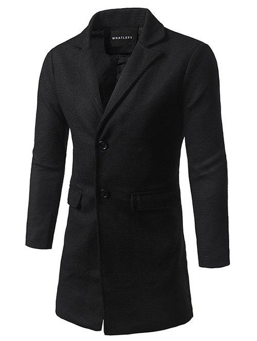 Single Breasted Lapel Tweed Wool Blend Coat - BLACK 5XL