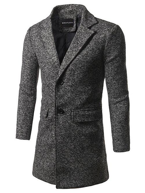Single Breasted Lapel Tweed Wool Blend Coat - DEEP GRAY M