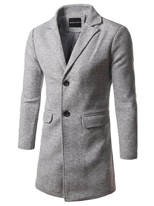 Single Breasted Lapel Tweed Wool Blend Coat - LIGHT GRAY L