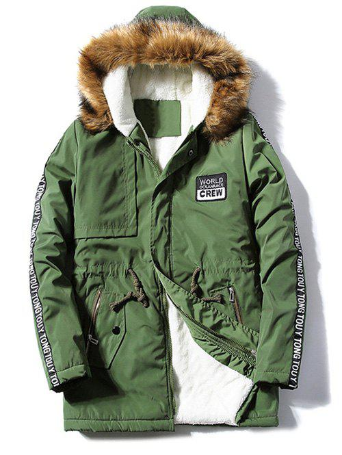 Letter Patch Zipper Pocket Fur Hooded Coat - ARMY GREEN M