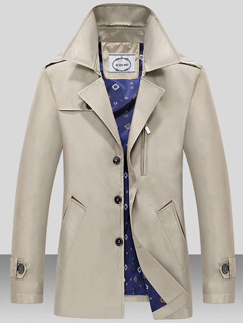 Single Breasted Turndown Collar Epaulet Wind Coat - LIGHT KHAKI M
