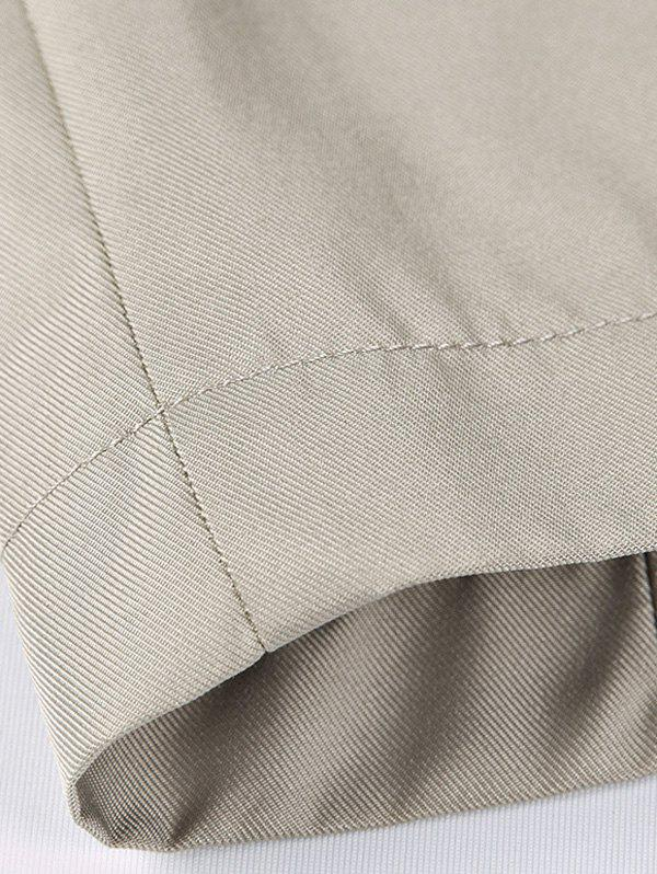 Simple Col breasted Turndown Coat Epaulet Vent - Kaki Foncé L