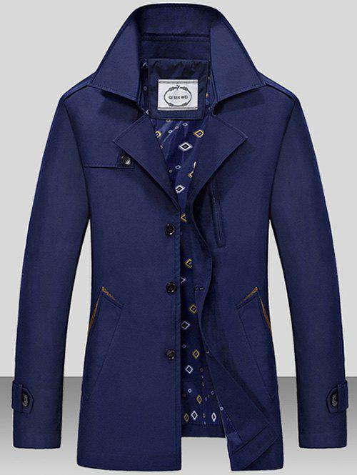 Single Breasted Turndown Collar Epaulet Wind Coat - DEEP BLUE M