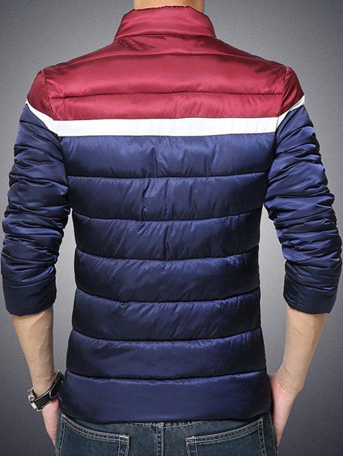 Color Block Funnel Neck Zip Up Padded Jacket - CADETBLUE M