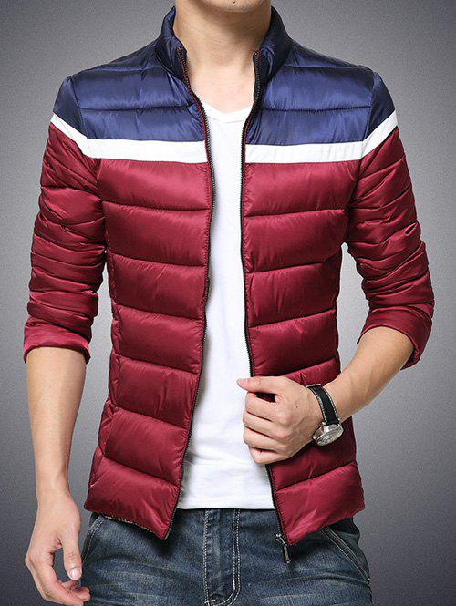 Color Block Funnel Neck Zip Up Padded Jacket - RED M