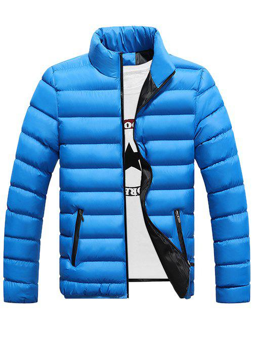 Funnel Neck Zipper Pocket Padded Jacket - AZURE M