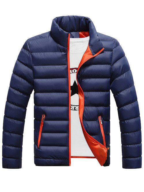 Funnel Neck Zipper Pocket Padded Jacket - DEEP BLUE 2XL