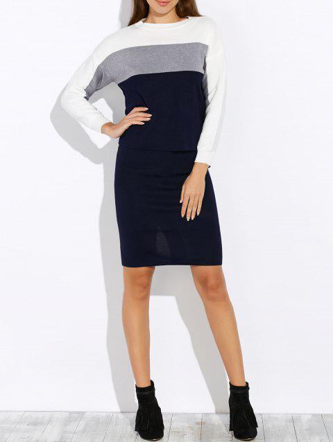 Contrast Striped Knitwear and Back Slit Skirt Twinset - GRAY ONE SIZE